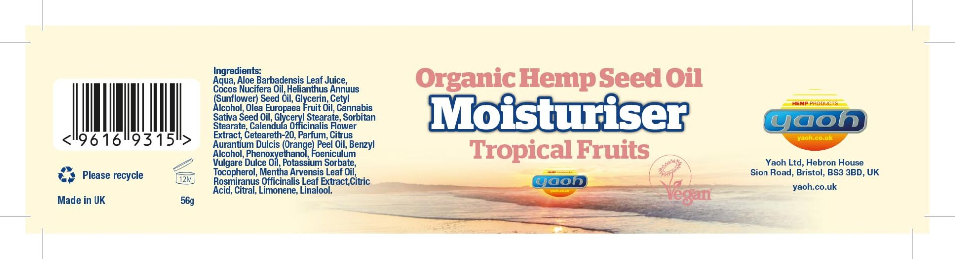 Hemp Seed Oil Moisturiser - Tropical Fruits