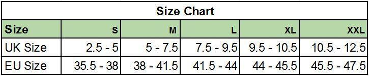 Oganic Sustainable Socks Size Chart