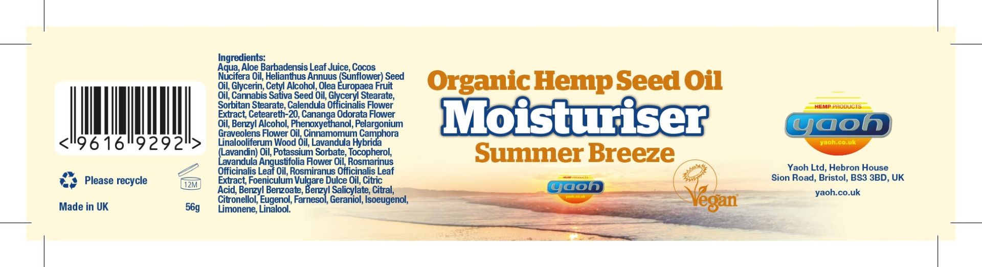 Hemp Seed Oil Moisturiser - Summer Breeze